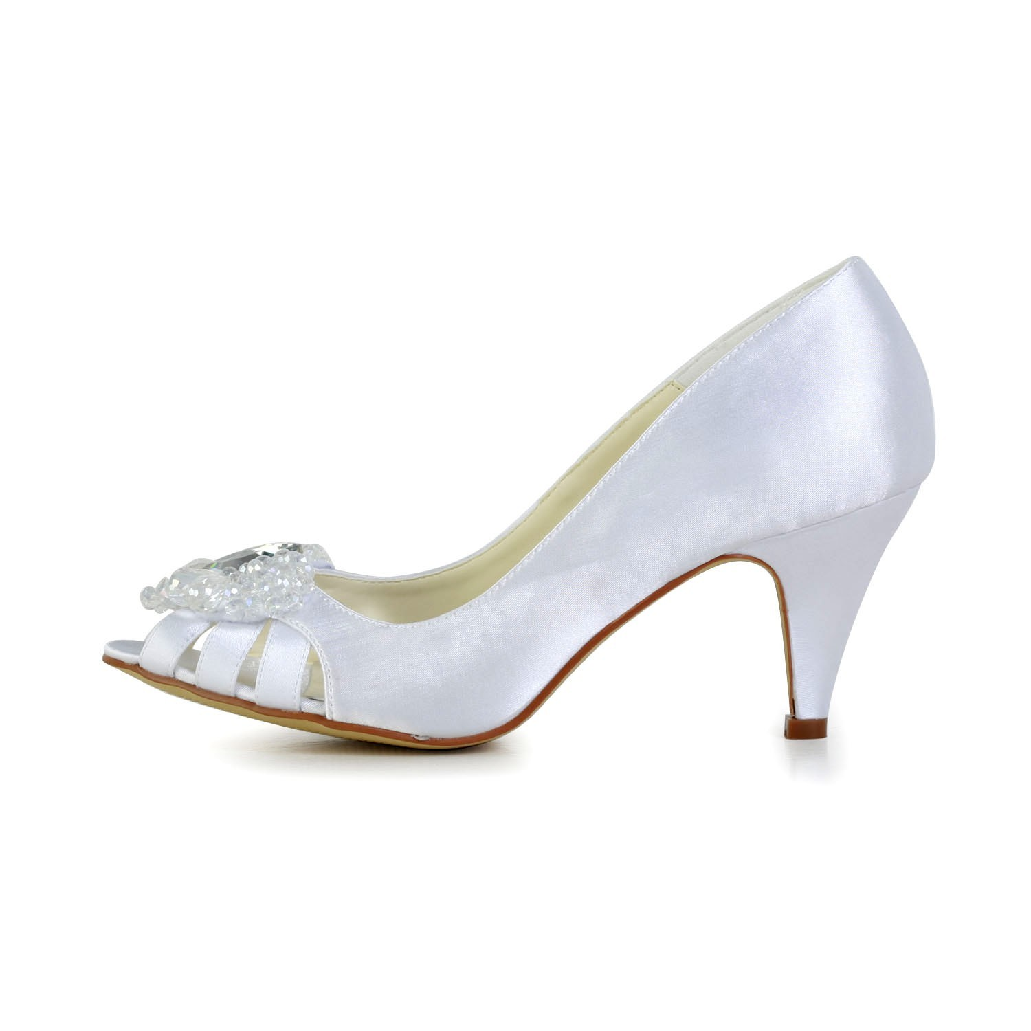 3bd068b47796 The Most Fashionable Women s Satin Cone Heel Peep Toe Sandals White Wedding  Shoes With Hollow- · Tweet