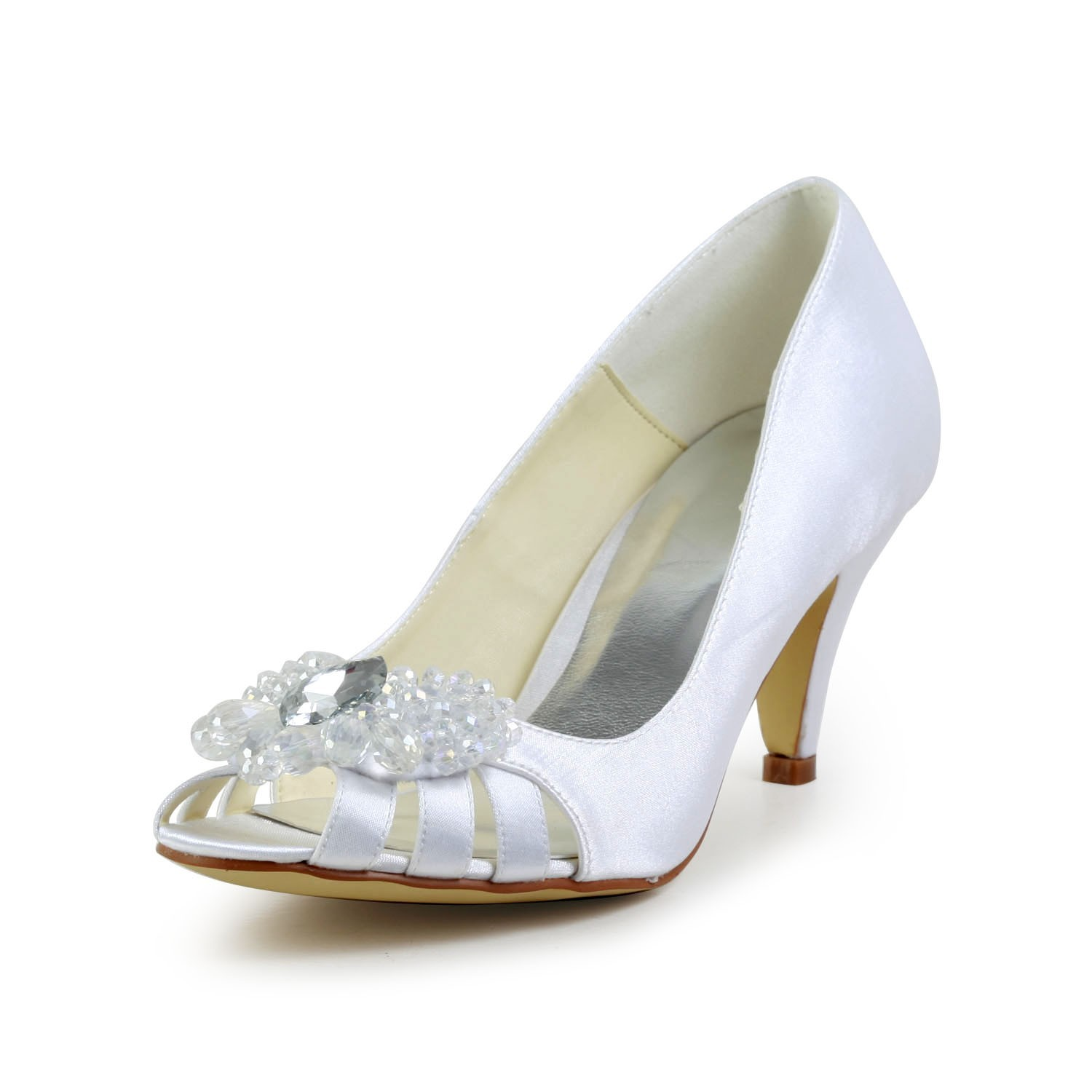 84e66f6e2bb The Most Fashionable Women s Satin Cone Heel Peep Toe Sandals White Wedding  Shoes With Hollow-
