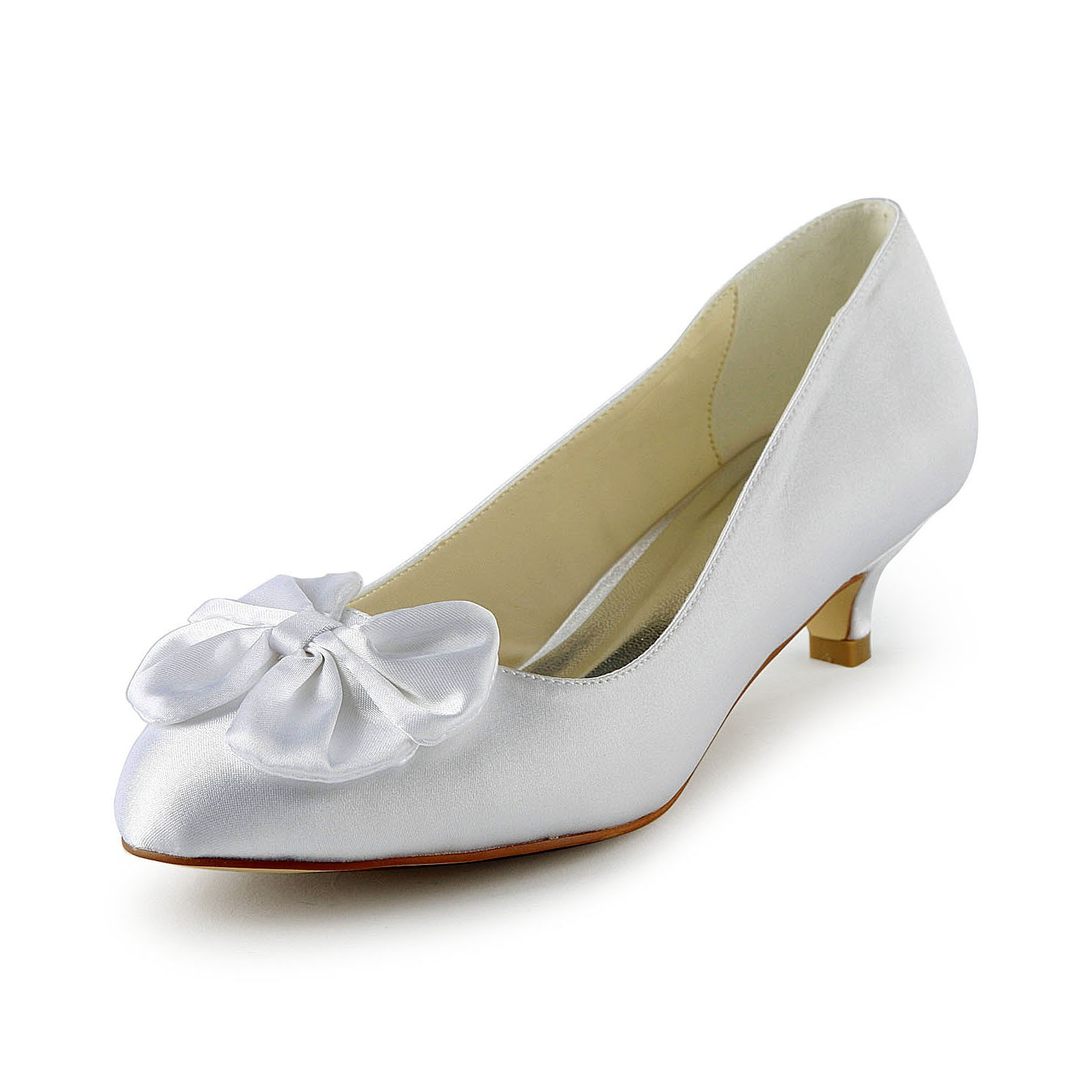 Women S Satin Kitten Heel Pumps With Bowknot White Wedding Shoes