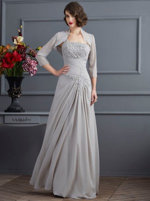 A-Line/Princess One-Shoulder Chiffon Sleeveless Floor-Length Mother of the Bride Dresses