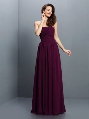 A-Line/Princess Strapless Chiffon Sleeveless Floor-Length Bridesmaid Dresses