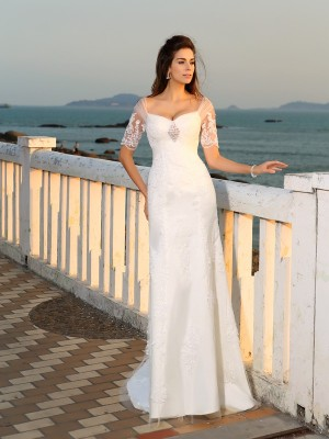 Sheath/Column Sweetheart Satin Short Sleeves Floor-Length Wedding Dresses