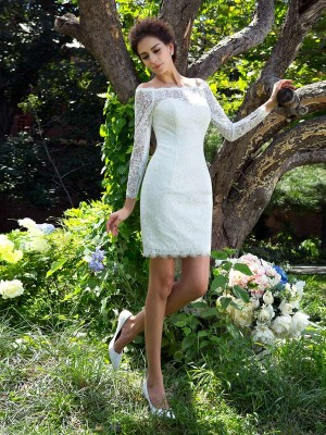 Sheath/Column Scoop Satin Long Sleeves Short/Mini Wedding Dresses