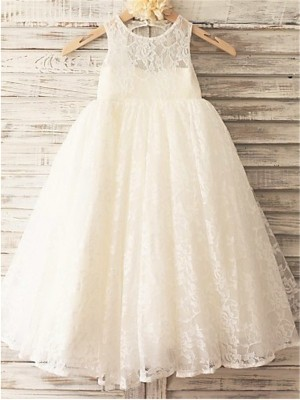 A-line/Princess Scoop Lace Sleeveless Ankle-Length Flower Girl Dresses