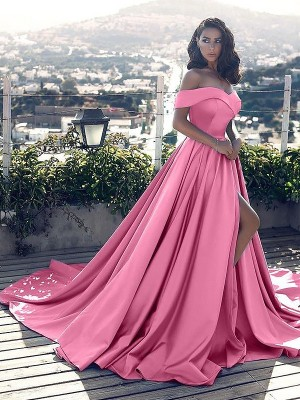 A-Line/Princess Off-the-Shoulder Satin Sleeveless Court Train Dresses