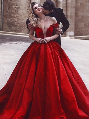 Ball Gown Off-the-Shoulder Satin Sleeveless Sweep/Brush Train Dresses