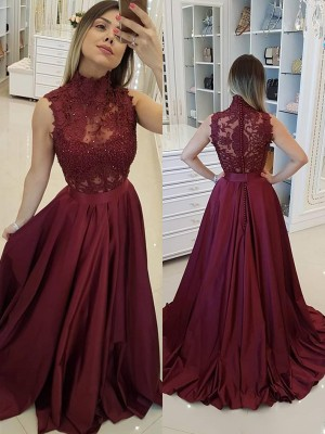 A-Line/Princess High Neck Satin Sleeveless Sweep/Brush Train Dresses