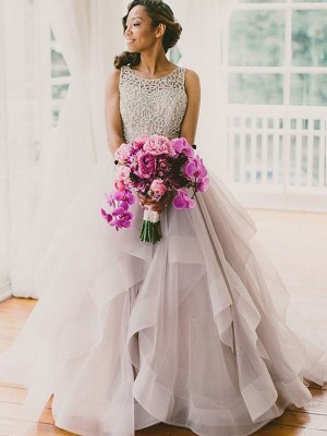 Ball Gown Scoop Tulle Sleeveless Floor-Length Wedding Dresses