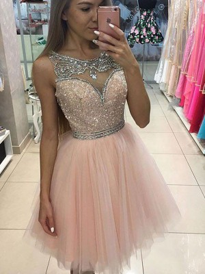 A-line/Princess Scoop Tulle Sleeveless Short/Mini Dresses