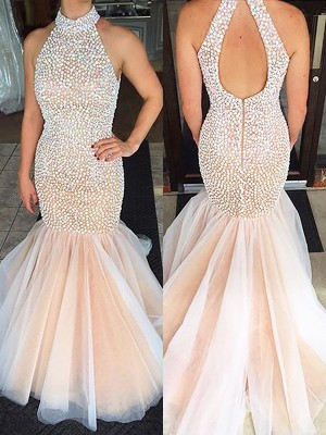 Trumpet/Mermaid Halter Tulle Sleeveless Floor-Length Dresses