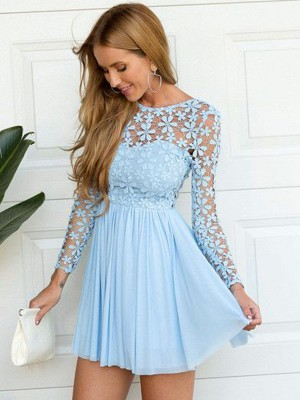 A-line/Princess Scoop Chiffon Long Sleeves Short/Mini Dresses