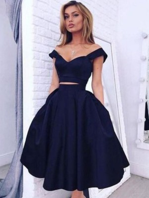 A-line/Princess Off-the-Shoulder Taffeta Sleeveless Knee-Length Two Piece Dresses