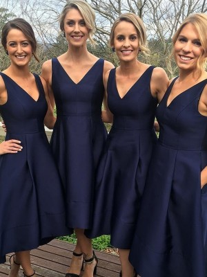 A-Line/Princess V-neck Satin Sleeveless Tea-Length Bridesmaid Dresses