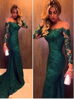Trumpet/Mermaid Off-the-Shoulder Lace Long Sleeves Sweep/Brush Train Dresses