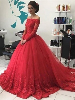 Ball Gown Off-the-Shoulder Tulle Long Sleeves Court Train Dresses
