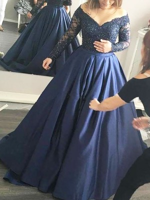 Ball Gown Off-the-Shoulder Satin Long Sleeves Sweep/Brush Train Dresses