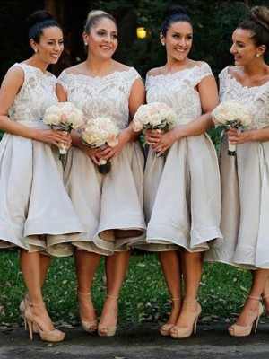 A-Line/Princess Off-the-Shoulder Elastic Woven Satin Sleeveless Knee-Length Bridesmaid Dresses