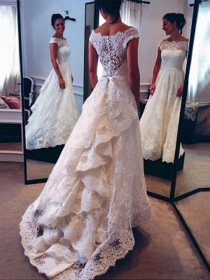 A-Line/Princess Scoop Lace Sleeveless Sweep/Brush Train Wedding Dresses