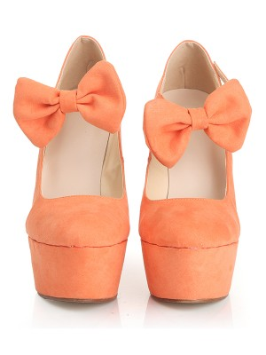 The Most Trendy Women's Closed Toe Suede Wedge Heel Platform With Bowknot Wedges Shoes