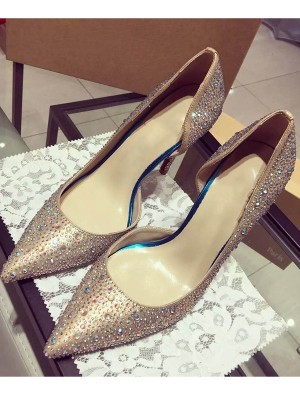 The Most Trendy Women's Satin Closed Toe Cone Heel With Rhinestone High Heels