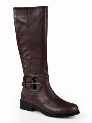The Most Trendy Women's Kitten Heel Closed Toe Cattlehide Leather With Buckle Mid-Calf Chocolate Boots