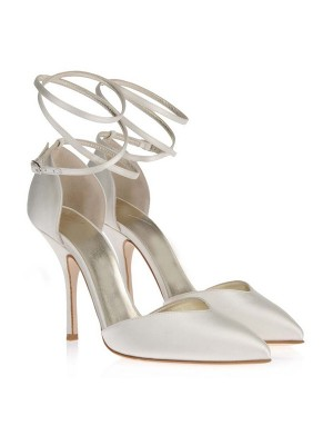 The Most Stylish Women's Satin Closed Toe Stiletto Heel White Wedding Shoes