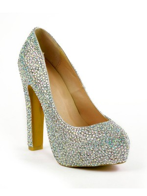 The Most Fashionable Women's Stiletto Heel Closed Toe With Rhinestones Platform Platforms Shoes