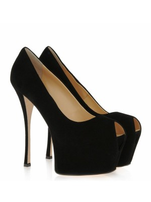 The Most Fashionable Women's Suede Stiletto Heel Peep Toe Platform High Heels