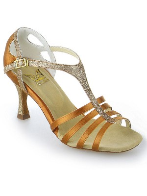 The Most Stylish Women's Peep Toe Buckle Stiletto Heel Satin Dance Shoes