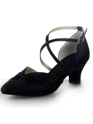 The Most Trendy Women's Closed Toe Satin Chunky Heel Buckle Dance Shoes
