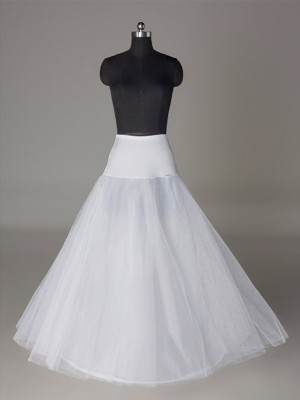A-Line 2 Tier Floor Length Slip Tulle Netting Style Wedding Petticoats
