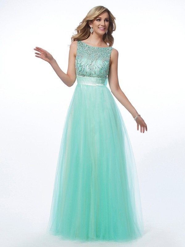 A-Line/Princess Bateau Net Sleeveless Floor-Length Dresses