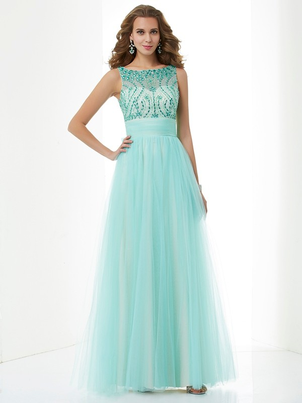 A-Line/Princess Bateau Elastic Woven Satin,Net Sleeveless Floor-Length Dresses