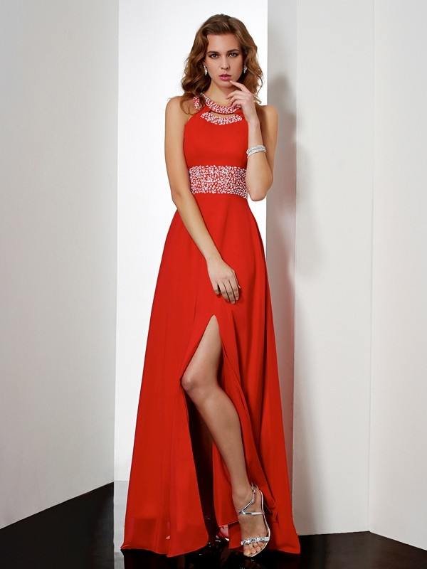 Empire Jewel Chiffon Sleeveless Floor-Length Dresses