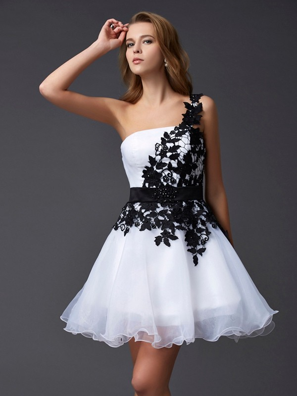 A-Line/Princess One-Shoulder Organza Sleeveless Short/Mini Dresses