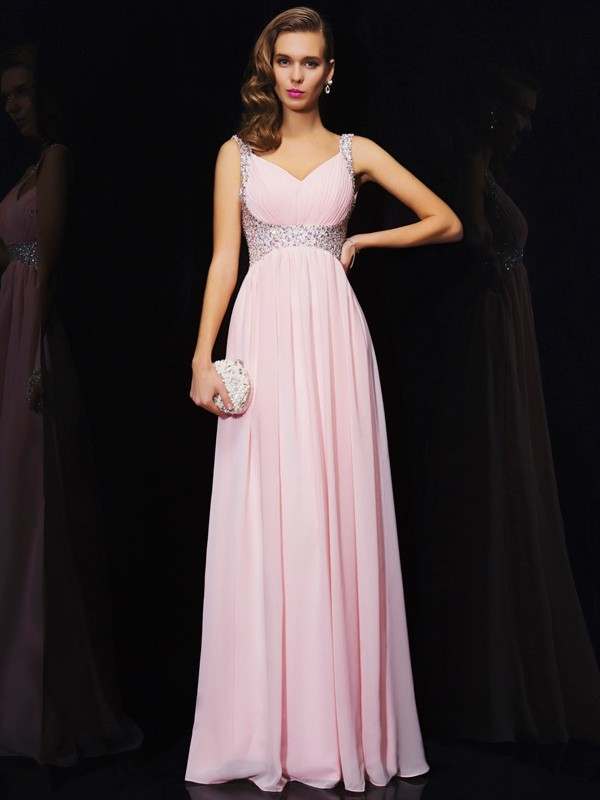 A-Line/Princess V-neck,Straps Chiffon Sleeveless Floor-Length Dresses