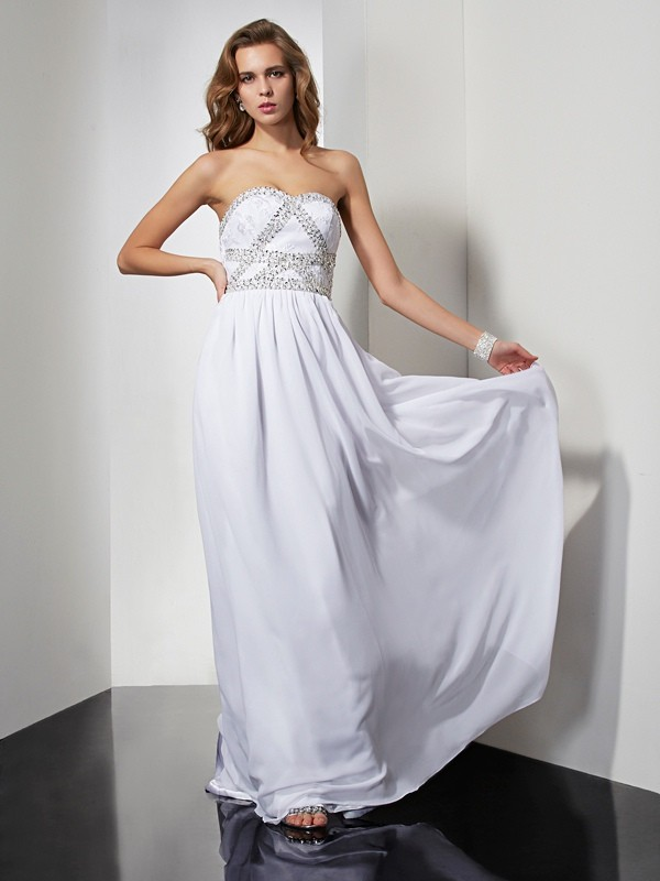 Sheath/Column Strapless,Sweetheart Chiffon Sleeveless Floor-Length Dresses