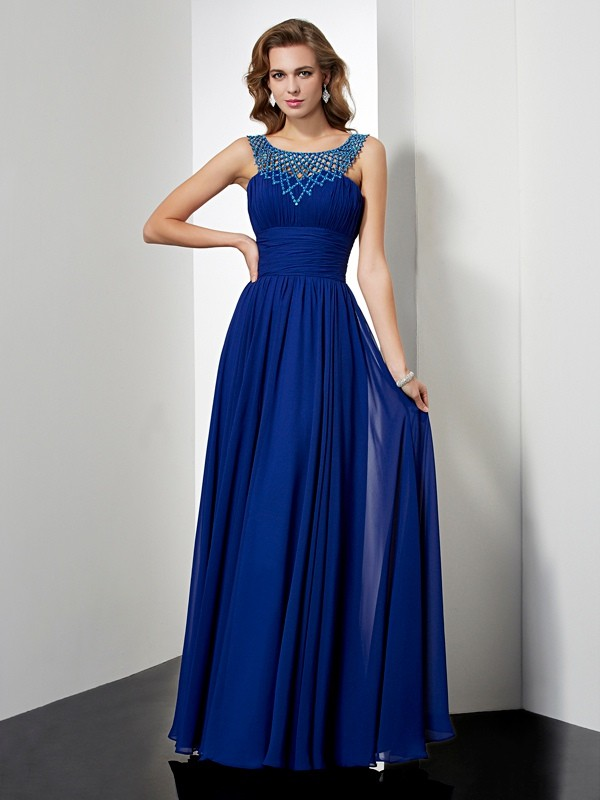 Empire High Neck Chiffon Sleeveless Floor-Length Dresses