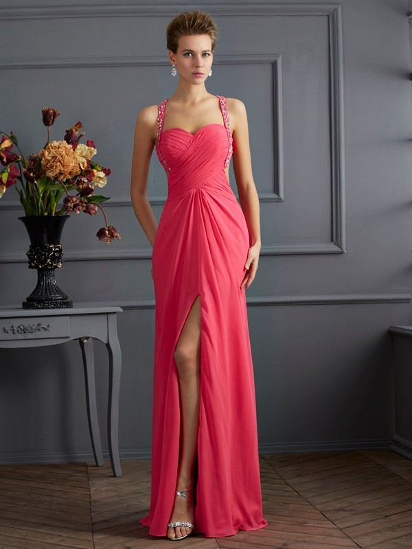 Empire Sweetheart,Straps Chiffon Sleeveless Floor-Length Dresses