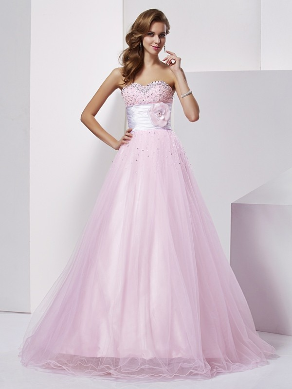 Ball Gown Strapless,Sweetheart Elastic Woven Satin Sleeveless Floor-Length Dresses