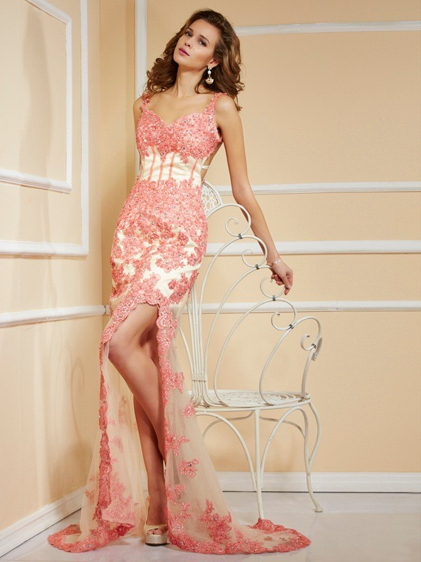 Sheath/Column Straps Net Sleeveless Sweep/Brush Train Dresses