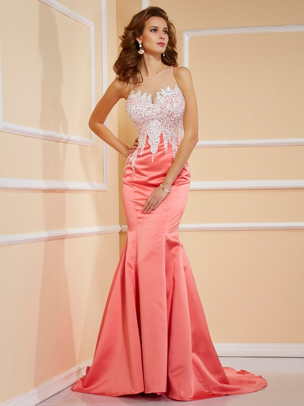 Sheath/Column Jewel Satin Sleeveless Sweep/Brush Train Dresses