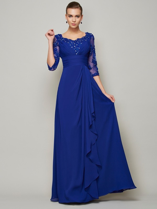 47486afa563a4 A-Line/Princess Scoop Chiffon 3/4 Sleeves Floor-Length Mother of