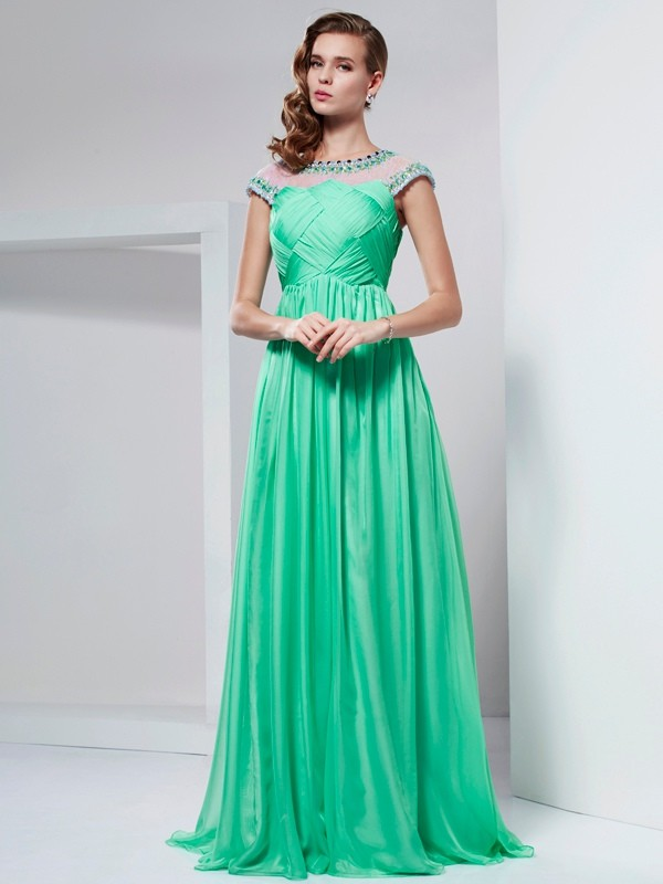 A-Line/Princess High Neck Chiffon Short Sleeves Floor-Length Dresses