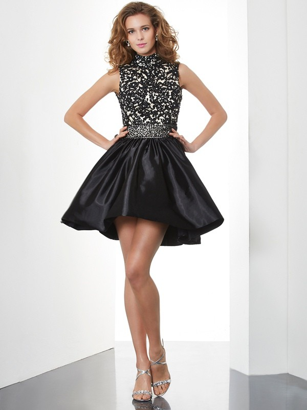 A-Line/Princess High Neck Taffeta Sleeveless Short/Mini Dresses