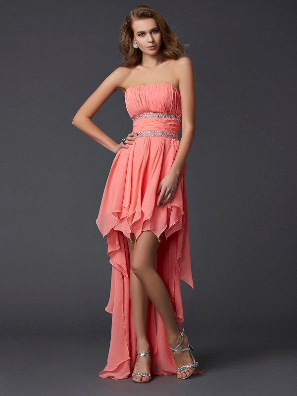 Empire Strapless Chiffon Sleeveless Asymmetrical Dresses