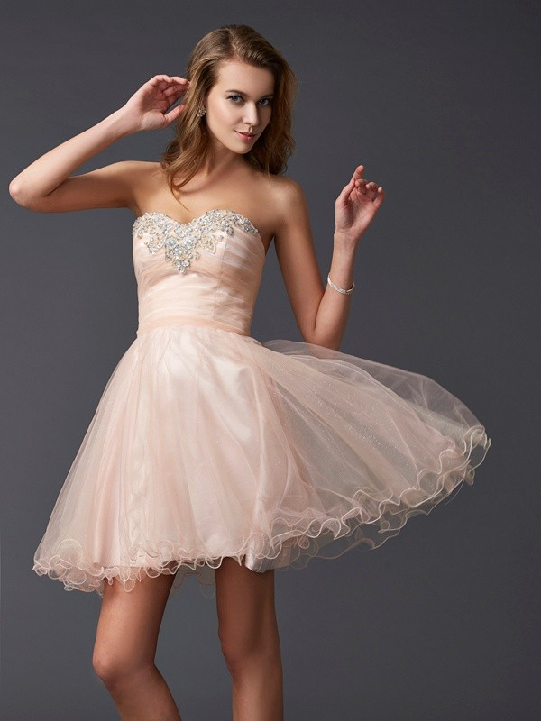 A-Line/Princess Sweetheart Silk like Satin Sleeveless Short/Mini Dresses