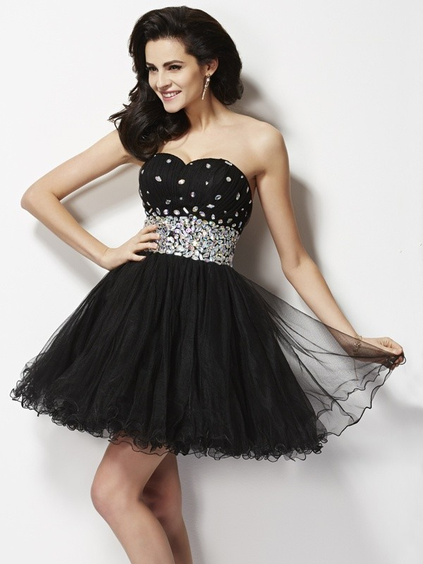 A-Line/Princess Sweetheart Elastic Woven Satin Sleeveless Short/Mini Dresses