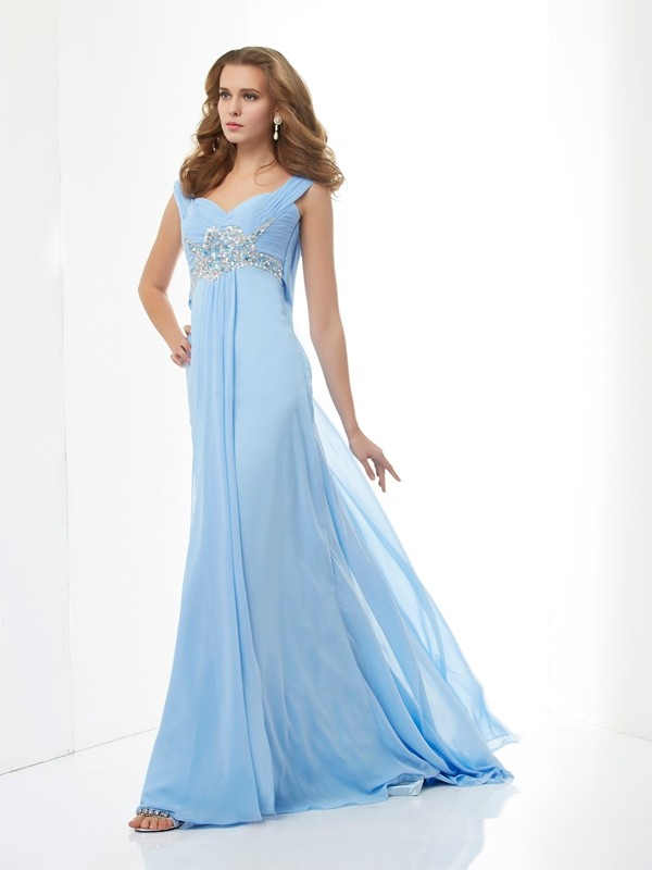 A-Line/Princess Sweetheart,Straps Chiffon Sleeveless Sweep/Brush Train Dresses