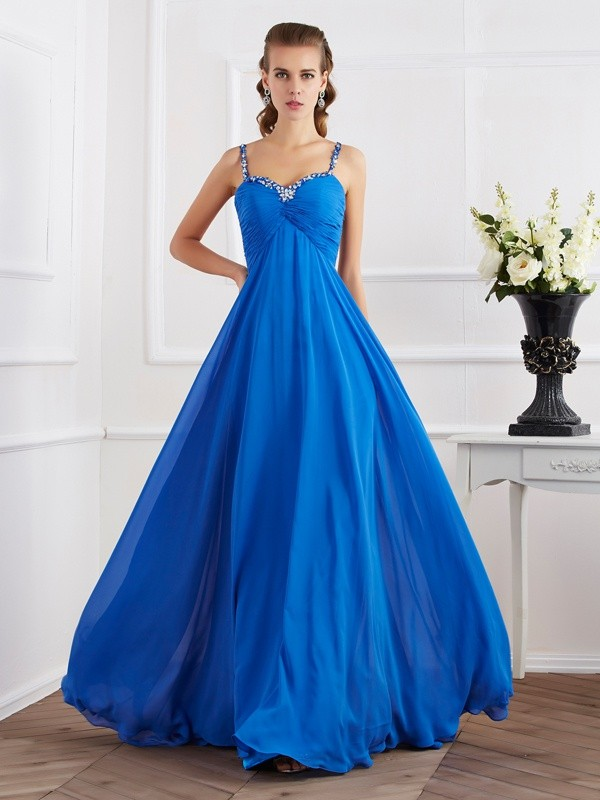 A-Line/Princess Spaghetti Straps Chiffon Sleeveless Floor-Length Dresses